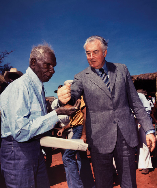 'Gough Whitlam pouring soil into the hands of traditional owner Vincent Lingiari', by Mervyn Bishop, Northern Territory, Australia, 1975  http://from.ph/344580